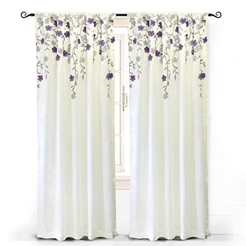 "Faux Silk Panel Window (DriftAway Isabella Faux Silk Embroidered Window Curtain, Embroidered Crafted Flower, Lined with Thermal Fabric, Single Panel, 50""x96"" (Ivory/Purple))"