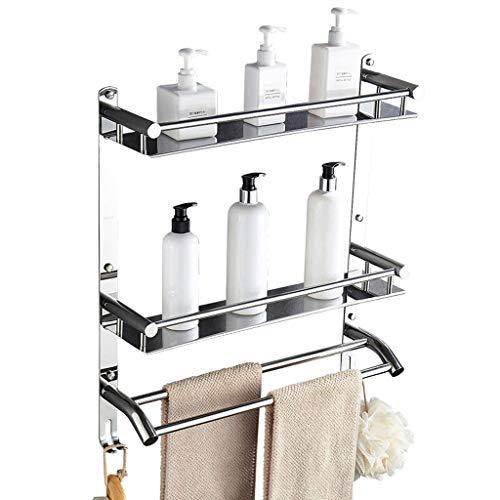 Ly-mjj Toallero de Acero Inoxidable Estante de baño de 2 Capas Estante de baño Rack de Hardware Polo Doble con Doble Gancho...