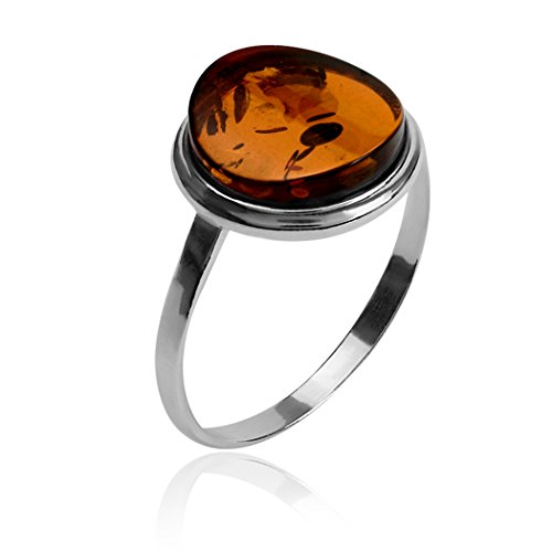 Brown Amber and Sterling Silver Round Ring Sizes - Amber Brown Round And