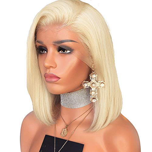 LIAZAHAIR 613 Blonde Straight Bob Lace Front Human Hair Wigs Pre-Plucked Free Part Blond Bob Lace Front Wig With Baby Hair (8 Inch, Lace front wig) (Blond Human Hair Wigs Straight)