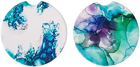 Car Coasters Absorbent for Cup Holders 2 Pack,Auto Ceramic Thirstystone Car Coasters,Mandala Drink Cup Holder for Car