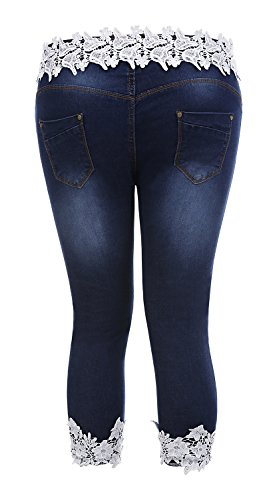 Plus size women fashion ripped denim jeans shorts lace splicing women pants
