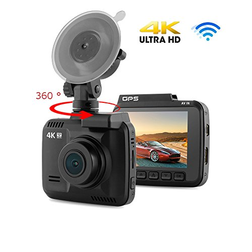South Weekend 4K HD Mini Car DVR WiFi Dash Cam, Video Recorder GPS Camera,Night Vision G-Sensor, 170 Degree A + HD Ultra Wide Angle,Display Screen,Loop-Cycle Recording, Black (Black Wide Angle Digital Camera)