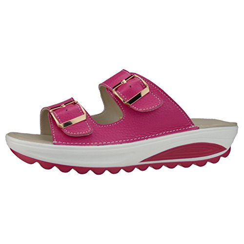 HONGANG Women Slide Sandals, Walking Wedges Sandals Thick Platform Sandals Fashion Comfortable Shake Sandal Shoes Red