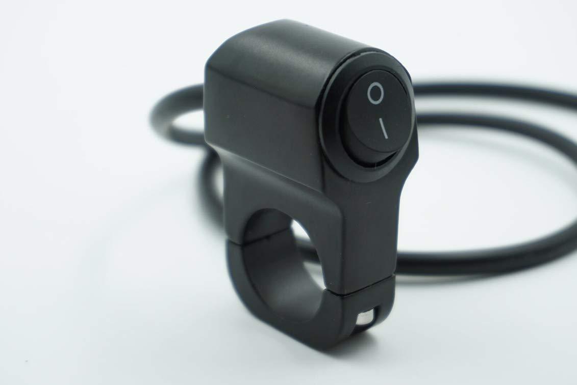 Commutateur de moto 1 pouce moto interrupteur en alliage daluminium Modifi/é commutateur de guidon Led phares r/étro commutateur alarme commutateur 2 ligne CBFYKU color/é : Noir