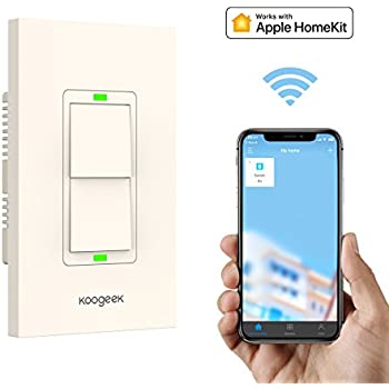 Koogeek Smart WiFi Light Switch Two Gang for Apple HomeKit with Siri Remote Light Control Switch on 2.4Ghz Network Single Pole (Two Gang)