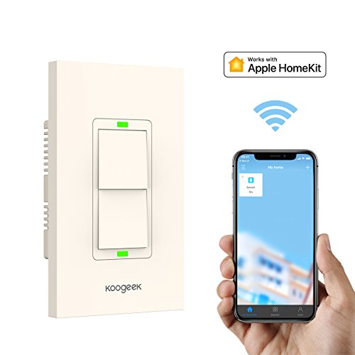 Smart Light Switch, Koogeek WiFi Wall Switch for Apple HomeKit with Siri Remote Light Control Switch on 2.4Ghz Network for iOS Beige (Two Gang)