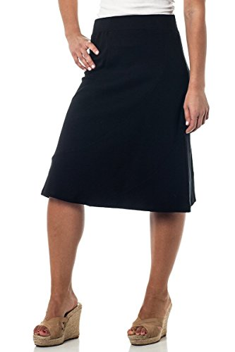 Alki'i A-Lined Mid Length Skirt with Elastic Waistband