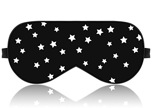 Satin Sleep Mask (Lonfrote Stars Natural Silk Sleep Mask, Smooth Blindfold with Carry Pouch for Travel, Relax, Shift Workers, Super Soft Fabric (Black))