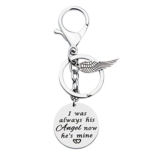 KUIYAI Memorial Keychain I was Always His Angel Now He is Mine Daddy Mommy Remembrance Keychain with Guardian Angel (Dad Keychain)