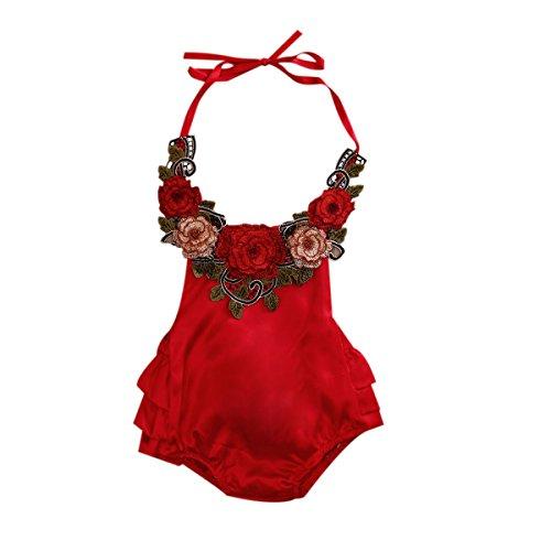 Infant Girls Halter (Baby Girl 3D Flower Applique Halter Floral Romper,Backless Bodysuit,Ruffle Sunsuit (12-18 Months, Red))