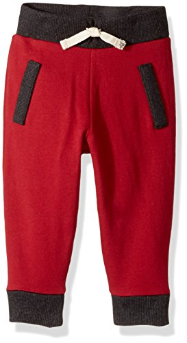 Burt's Bees Baby Baby Boys' Organic Knit Jogger Pants, Cranberry French Terry, 12 Months