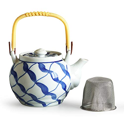 Cinf Japanese Teapot Japanese Style Classic Ceramic Handpaint Glaze Teapot with Diffuser,Tea Pot Ceramic for Tea/Coffee,Home and Office Use with Removable Infuser- Blue stripes White (1000 ml,35.21oz)
