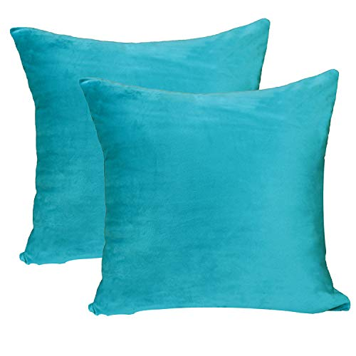 sykting Square Pillow Covers Soft Soild Decorative Cushion Cases Short Plush Throw Pillow Covers for Sofa Bed Car 18 x 18 Inch Pack of 2 Lake Blue