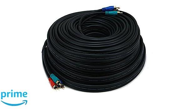 Monoprice - 100 FT 22 AWG 3-RCA vídeo por componentes Cable Coaxial (RG-59/U) - negro - (102403): Amazon.es: Bricolaje y herramientas