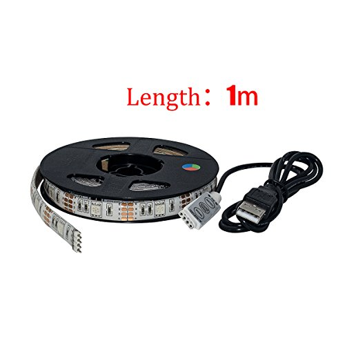 TEQIN 100CM 5050 Waterproof RGB LED Strip Lights for Home Outdoor Lighting Craft Hobby Light Decoration with 5V USB Cable for TV/PC/Laptop Background Lighting - Replacement Temples Cable