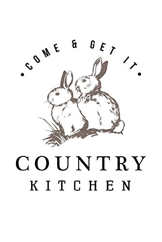 Country Kitchen - Bunnies on White (16x24 Giclee Gallery Print, Wall Decor Travel Poster)
