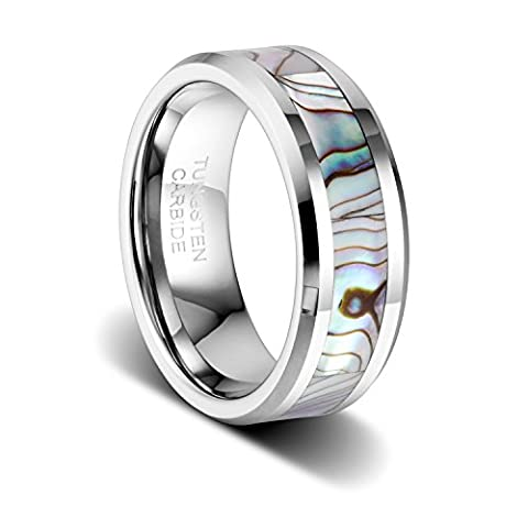TUSEN JEWELRY 8mm Tungsten Wedding Band Natural Abalone Shell Inlay Tungsten Carbide Ring (Abalone Inlay Band Ring)