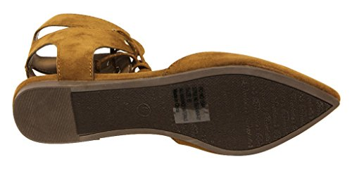 Breckelles Deanna-01 womens dorsay Almond poited Toe Lace Up Gilly Tie Ankle Wrap Flats Tan oqRFQ