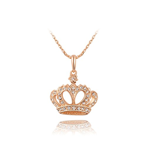 Duo La Noble Imperial Crown 18K Rose Gold Plated Cubic Zirconia Lady Elegant Necklace (Duo Costume Ideas)