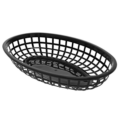 (Juvale 12-Pack Plastic Oval Baskets for Fast Food Service, Restaurants and Deli, 9 x 6 x 1.5 Inches)