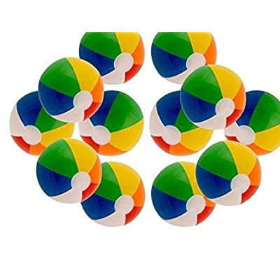 "Funny Party Hats Inflatable 12"" Rainbow Color Beach Balls 24 Pack: Toys & Games"