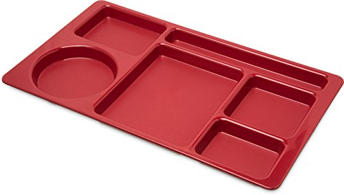 Carlisle 61505 ABS Omni-Directional Compartment Divided Tray, 15'' X 9'', Red (Case of 24) by Carlisle