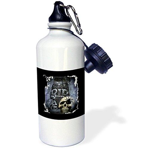 3dRose WhiteOaks Halloween Skulls - Grave Marker and Skull Halloween Skull Design - 21 oz Sports Water Bottle (wb_28314_1)