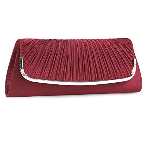 Damara Womens Simple Pleated Satin Clutch Evening Bag (Wine Red)