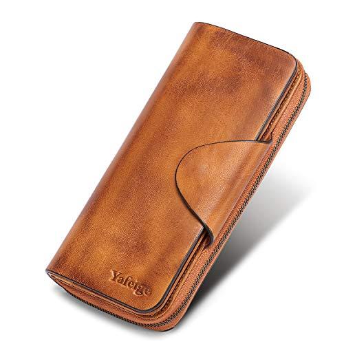 Yafeige Large Luxury Women's RFID Blocking Tri-fold Leather Wallet Zipper Ladies Clutch Purse(Retro Brown)