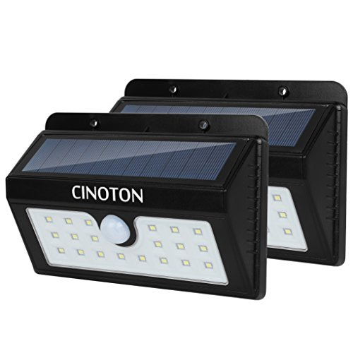 CINOTON Outdoor Solar Wall Lights Ultra Bright 20 LED Security Lighting Motion Sensor Dusk-to-dawn Photocell Wireless Waterproof for Garden,Yard,Patio, Driveway,Stairs. (20 LED, 2 PACK) Peace Motion Lamp