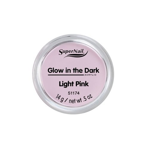 White Nail Super Powder (Supernail Glow In The Dark Acrylic Powder Light Pink, 0.5 Ounce)