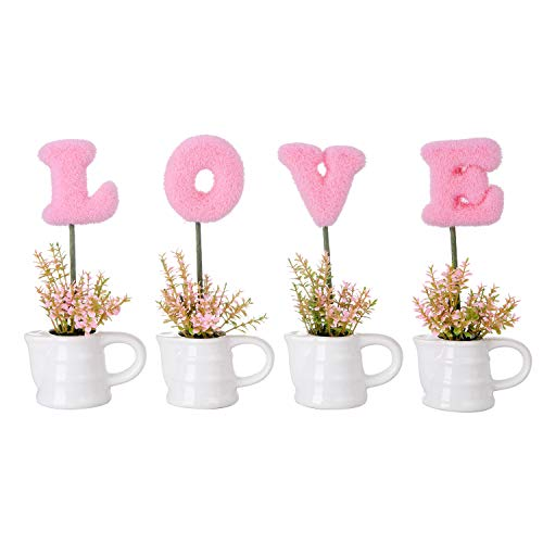 - VERGOODR Love Artificial Plants Flowers Sculpted Letters Set of 4,Love Letters Tabletop Decoration Faux Hedge Letters with White Ceramic Pots,Gift for Valentine's Day,Wedding,Home (Pinkkettle)