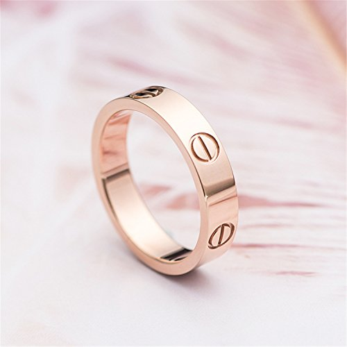 BESTJEW Rose Gold Love Screw Ring Engagement Wedding Couples Band Titanium Stainless Steel Size 9 by BESTJEW (Image #1)
