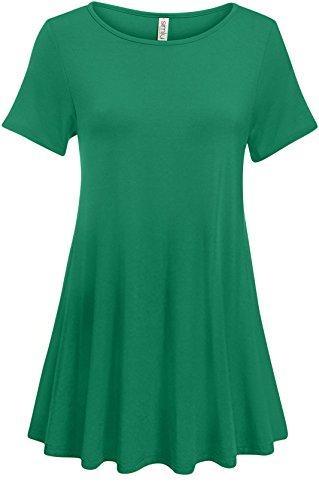 Top Emerald Green (Simlu Emerald Tunic Tops For Women Short Sleeve Long Flowy Tunic)