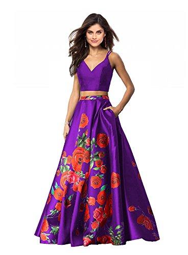 Besswedding 2018 2 Robes De Bal À Imprimé Floral Pièce Femmes Longues Robes Formelles Balle Du Soir Avec Des Poches Bf004 Violet