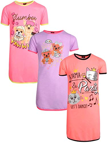 Angel Face Girls Short Sleeve Nightgowns Pajama - 3 Pack, Pajama Party, Size 14'