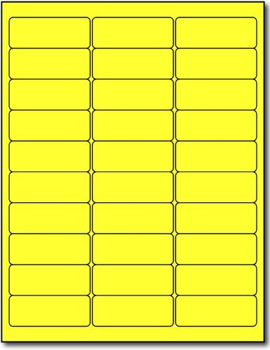 600 Label Outfitters 2-5/8 x 1 Fluorescent Neon Yellow Laser Labels, 20 Sheets,