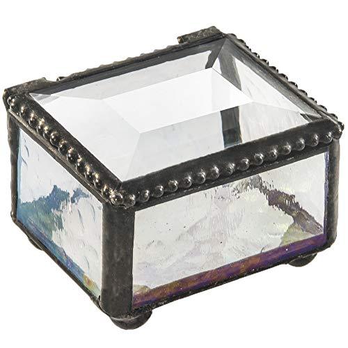 J Devlin Box 325 Clear Mini Stained Glass Ring Box
