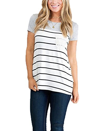 Idgreatim Cotton Shirt for Womens Grey Striped Tunic Top Plus Size (Plus Size Teen)