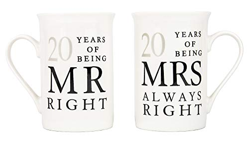 Haysoms Ivory 20th Anniversary Mr Right & Mrs Always Right Ceramic Mugs Gift Set Thoughtful and Unique Gift Idea Dishwasher and Microwave Safe (Anniversary Couple)