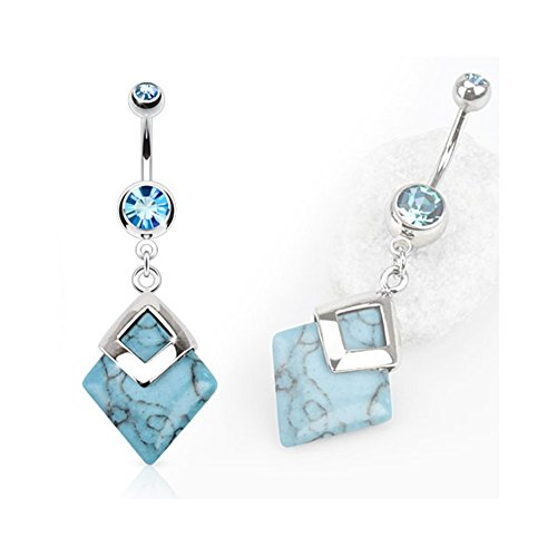 Diamond Shaped Semi Precious Stone Mounted Surgical Steel Navel Ring - Turquoise