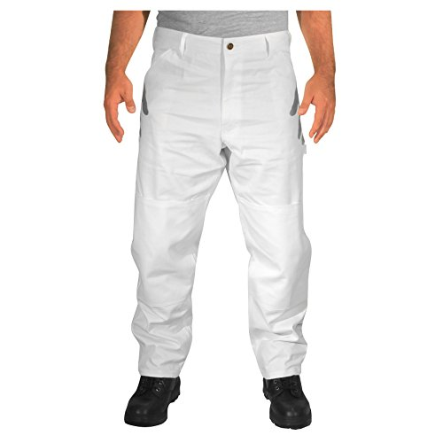 Rugged Blue CSGPTWP1000025168-WHT-38X32 Double Knee Painters Pants, English, Cotton, 38 x 32, White