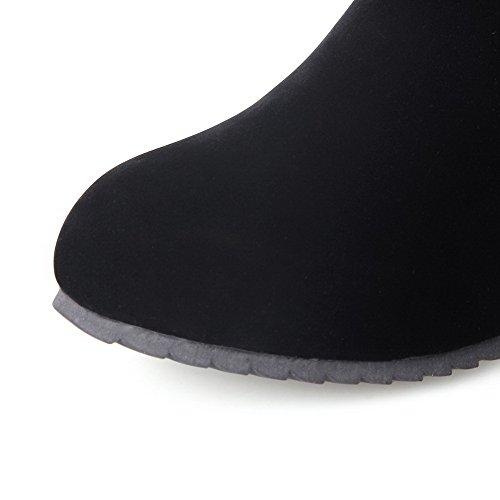 AllhqFashion Mujeres Puntera Redonda Cuña Caña Alta Sólido Botas con Metal Negro
