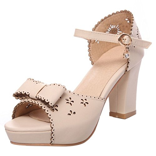 Peep Bow Toe Women Sandals Beige TAOFFEN 0PC5qS4C