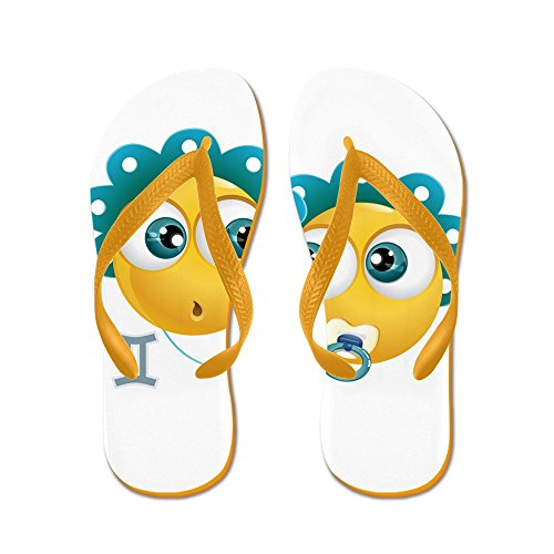 Truly Zodiac Gemini Flip Flops Smileyface Orange Rubber Mens Sandals Teague rZqw6fxSr