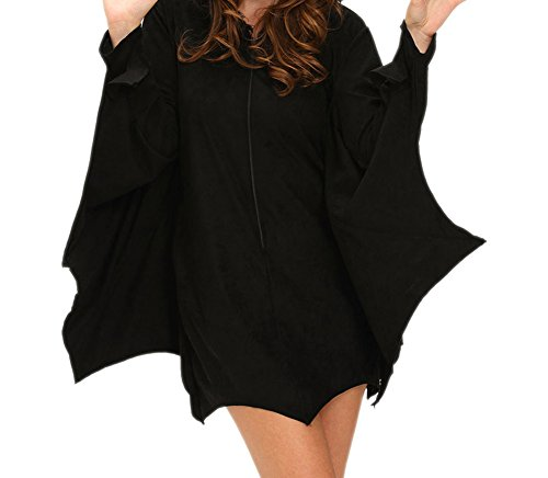[Christmas DH-MS Dress Women's All in Black Bat Adult Costume M] (Grecian Sandals Costume)