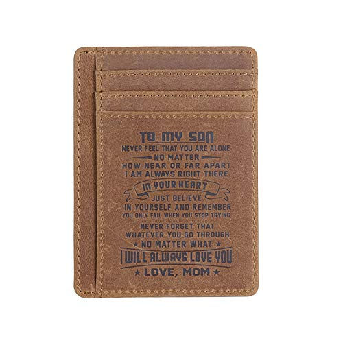 Leather Slim Wallet for Son Daughter, Husband Gifts from Wife, RFID Blocking Minimalist Front Pocket Wallet (Gift for son from MOM)