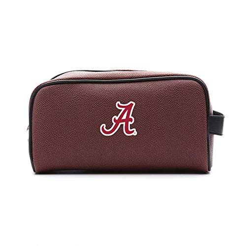 Zumer Sport Alabama Crimson Tide Football Leather Travel Toiletry Kit Zippered Pouch Bag - made from the same exact materials as a football - Brown