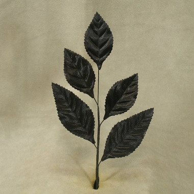 Package of 12 Satin Look Hand Wrapped Artificial Silk Black Rose Leaf Stems for Floral Arranging, Crafting and Embellishing